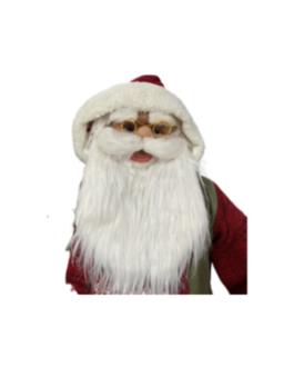 Boneco Papai Noel com Esqui e saco de presentes, casaco em vermelho e verde