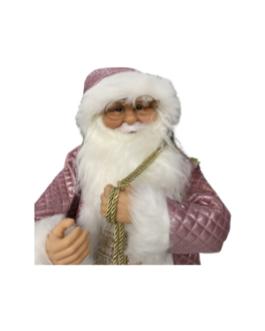 Boneco Papai Noel com saco de presentes dourado e casaco em rosa