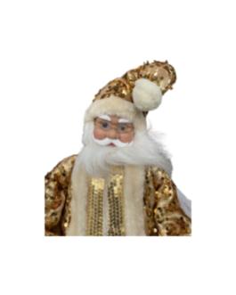 Boneco Papai Noel musical com movimento da cabeça, casaco em dourado com detalhes brilhantes