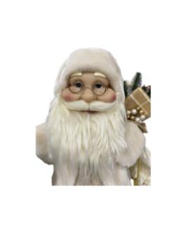 Boneco Papai Noel com saco de presente e pinheiro prata, casaco branco e dourado