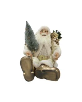 Boneco Papai Noel com saco de presentes dourado e pinheiro prata, casaco em branco e dourado
