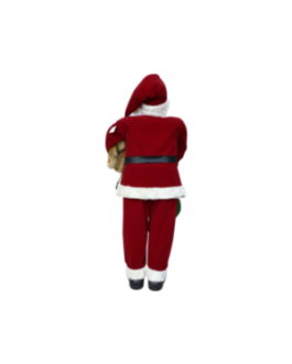 Boneco Papai Noel com Urso, lista e saco de presentes, casaco tradicional