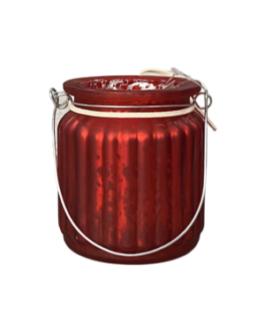 Castiçal em vidro pintado de vermelho com estrela de madeira