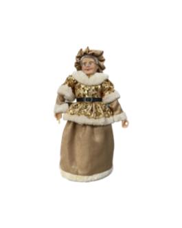 Mamãe Noel com veste em dourado com brilho
