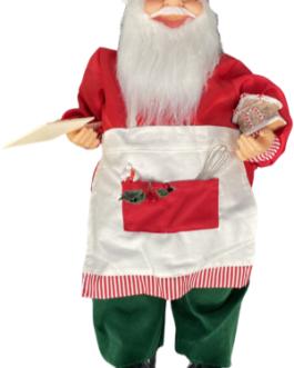 Boneco Papai Noel Cozinheiro segurando casa de doces e tábua com biscoito