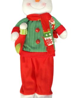 Boneco de Neve com casaco verde e vermelho segurando meia e guizo