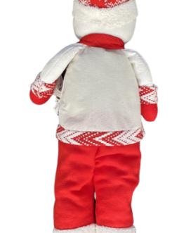 Boneco de Neve com casaco branco e vermelho
