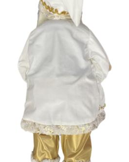 Boneco Papai Noel em branco e dourado com paetês segurando urso