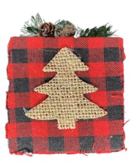 Enfeite de caixa de presente de Natal com estampa de pinheiro