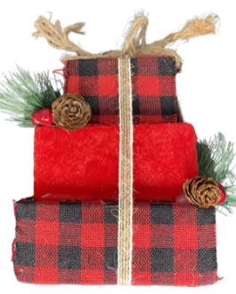 Enfeite de caixa de presente de Natal com azevinho e pinha