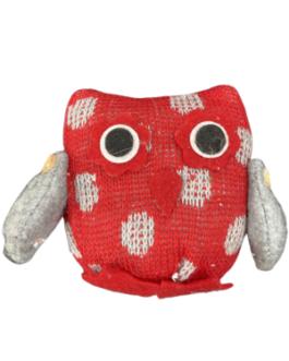 Coruja em Crochê para pendurar Vermelha e cinza