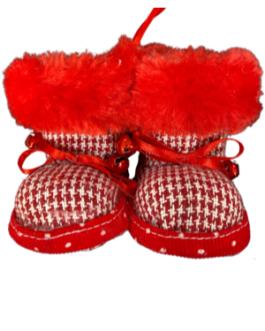 Botinha de Natal com guizo em vermelho