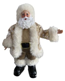 Enfeite de Papai Noel com casaco dourado com brilhos