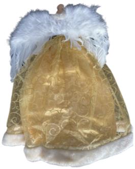 Anjo com Asas Brancas, vestes em dourado com lantejoulas
