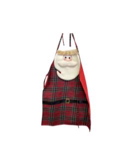 Avental com o rosto do Papai Noel e casaco xadrez em vermelho
