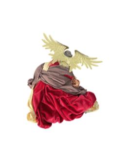 Anjo para Pendurar com asas em dourado e vestes vermelho e nude