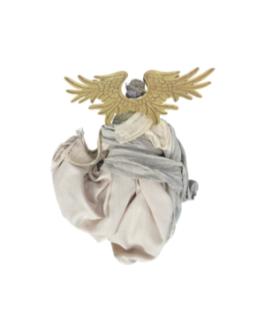 Anjo para Pendurar com asas douradas e vestes em nude e natural