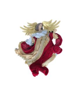 Anjo para Pendurar com asas douradas e roupas vermelhas e douradas