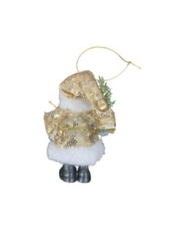 Papai Noel para Pendurar com paetê dourado e folhagem