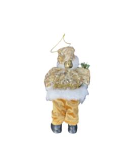 Papai Noel para Pendurar dourado com guizo e folhagens