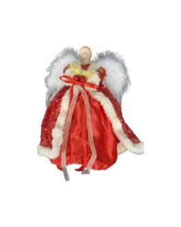 Anjo com Luvas, vestes em renda com paetê vermelho e branco