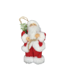 Papai Noel para Pendurar com folhagem e cereja