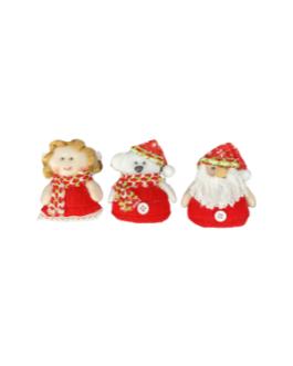 Anjo, Urso e Papai Noel para pendurar com cachecol e gorro vermelho estampado