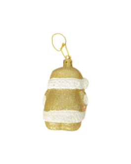 Papai Noel para Pendurar Dourado com brilho
