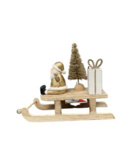 Papai Noel no Trenó com pinheiro em dourado