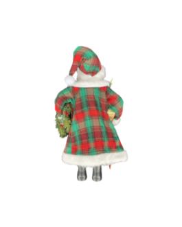 Boneco Papai Noel segurando pendente de natal, presente e folhagens