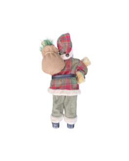 Boneco Papai Noel com Urso e saco de azevinho, casaco xadrez