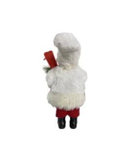 Boneco Papai Noel com Esqui e azevinho, casaco em branco e vermelho