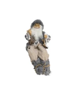 Boneco Papai Noel Sentado com casaco em branco estampado e cinza