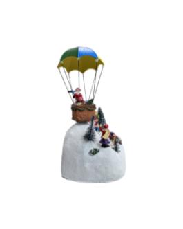 Cenário Papai Noel no Balão em estação de neve com boneco de neve