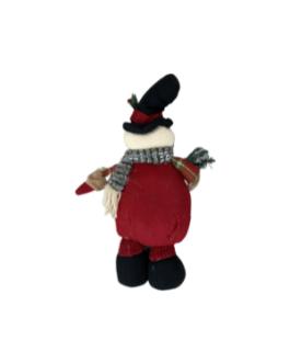 Boneco de Neve com casaco xadrez e azevinho