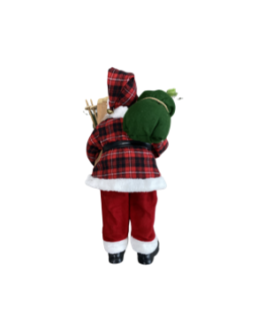 Boneco Papai Noel com Esqui e saco de com azevinhos