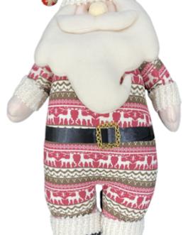 Boneco Papai Noel em Pé com a roupa estampada de renas em vermelho e verde
