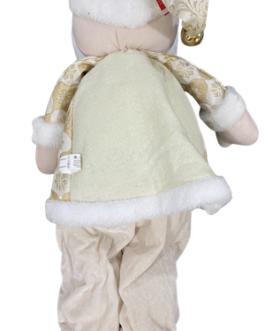 Boneco Papai Noel em pé com Casaco e Gorro dourados com estampa e Guizo no gorro