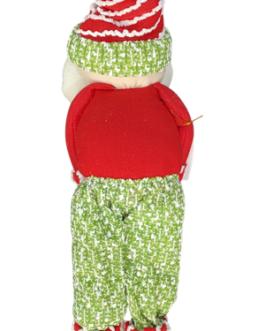 Boneco Papai Noel em pé segurando casal de boneco de neve e pinguim