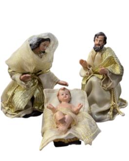 Presépio Dourado com Reis Magos, Anjo e animais