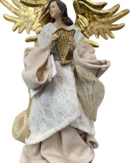 Anjo com Harpa e Asas Douradas – Natural