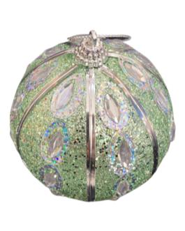 Bola de Natal Verde brilhante com pedras e detalhes em prata
