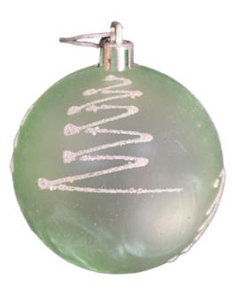 Bola de Natal Verde com estampa de pinheiro em branco com brilho