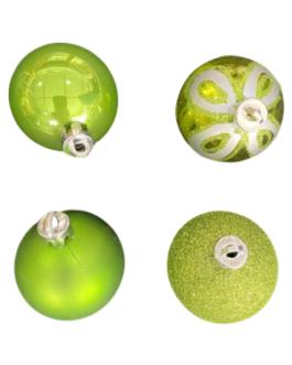 Bola de Natal Verde com brilho, fosca, purpurina e estampada