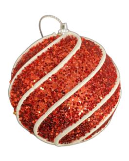 Bola de Natal Vermelha Purpurina com espiral em branco