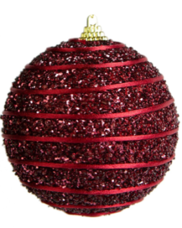 Bola de Natal Vermelha Purpurina com corda em espiral