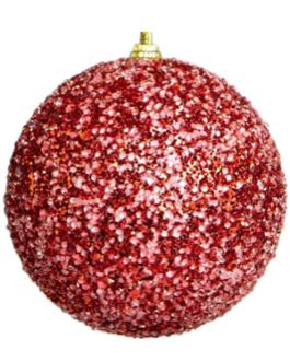 Bola de Natal Açucarada Vermelha com Gliter