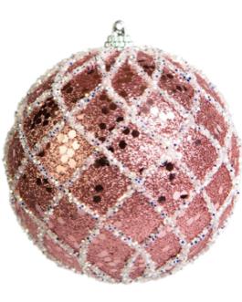 Bola de Natal Rosa com gliter e desenho em prata – cx. com 03