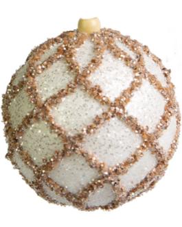 Bola de Natal Branca com brilho e corda