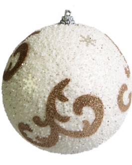Bola de Natal Branca com gliter e desenho de arabesco em dourado